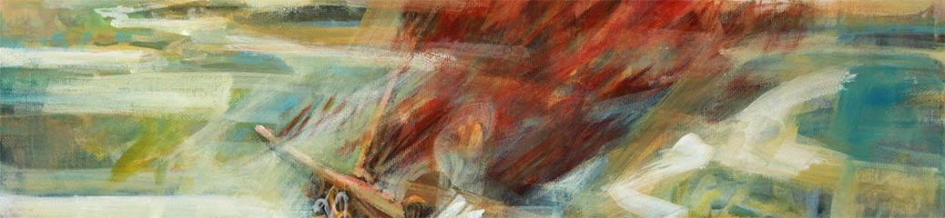 Gino di Prospero, La vela scarlatta, acrilico su tela.