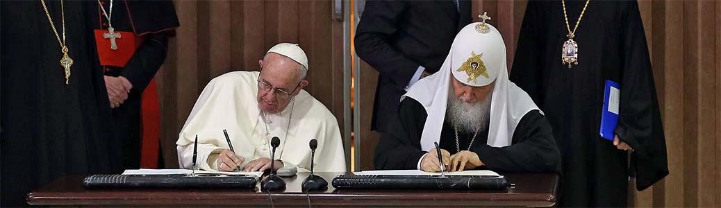 La sigla della Dichiarazione comune da parte di papa Francesco e del patriarca di Mosca Kirill, L'Avana