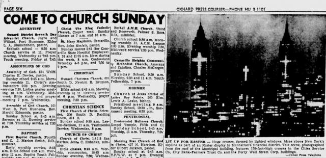 Oxnard Press-Courier. Croci di luce sui grattacieli di Manhattan