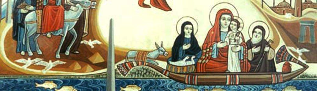 Fuga in Egitto, Santa Famiglia, barca sul Nilo