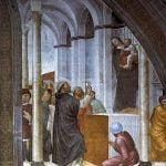 Vincenzo Foppa, Il miracolo della falsa Madonna, 1464-1468, Milano, basilica di Sant'Eustorgio, Cappella Portinari.