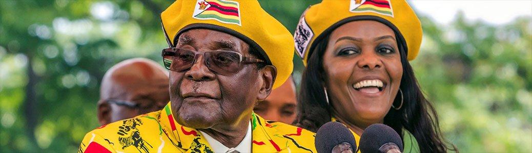 Robert Mugabe, presidente dello Zimbabwe, e la moglie Grace