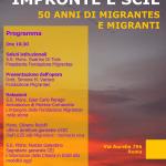Impronte e scie. 50 anni di Migrantes e migranti. Locandina 11 maggio 2018