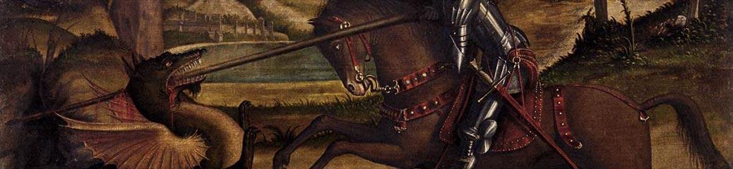 Vittore Carpaccio, San Giorgio e il drago, 1502, Venezia, Scuola di San Giorgio degli Schiavoni.