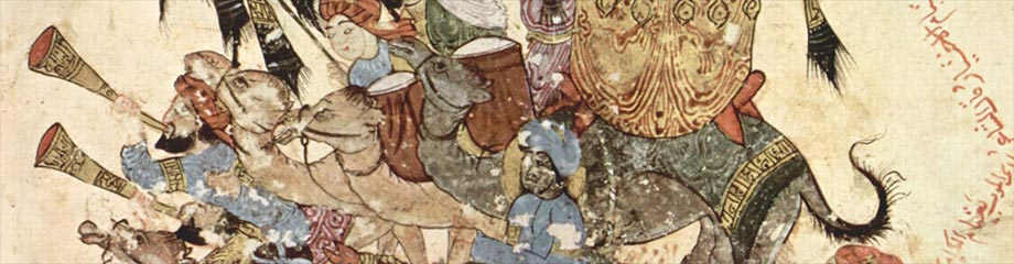 Carovana di pellegrini a Ramleh, manoscritto maqâmât di al-Harîrî, 1236-1237, Parigi, Bibliothèque nationale de France, Arabe 5847, fol. 94v.
