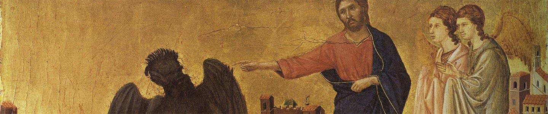 Duccio di Buoninsegna, Tentazione di Cristo sul monte, Maestà del Duomo di Siena, scomparto di predella, 1308-11, New York, Frick Collection.