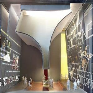 L'interno del Padiglione Expo della Santa Sede. Al centro, il tavolo multimediale
