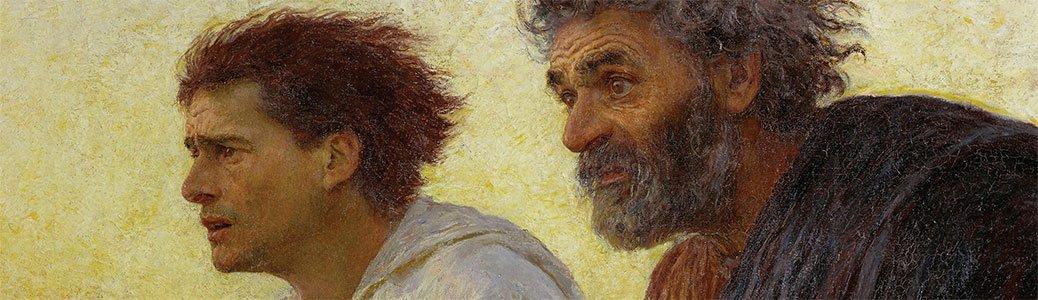 Eugène Burnand, I discepoli Pietro e Giovanni accorrono al sepolcro la mattina della Resurrezione, 1898, Parigi, Museo d'Orsay