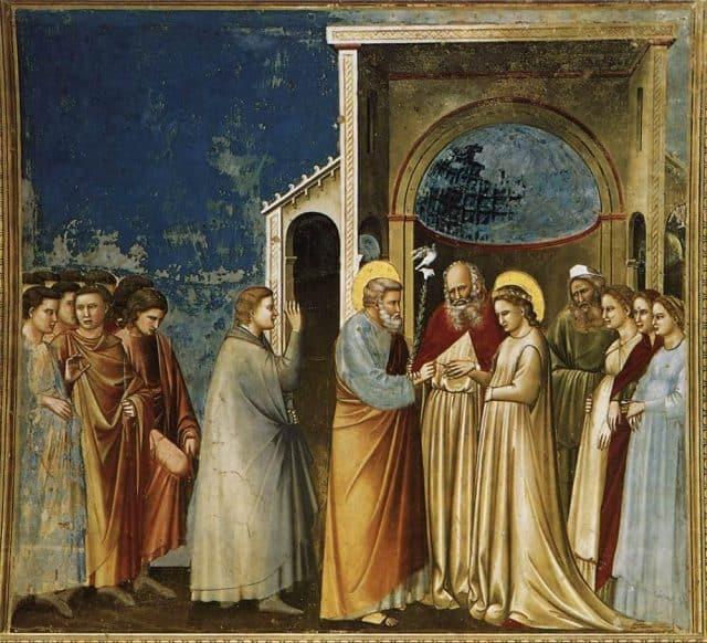<strong>Giotto</strong>, <em>Sposalizio della Vergine</em>, 1303-1305, affresco, Padova, Cappella degli Scrovegni.