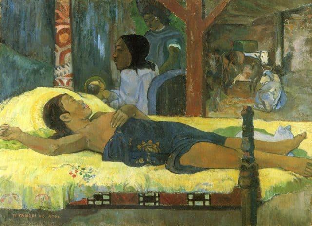 Paul Gauguin, La nascita di Cristo, figlio di Dio (in polinesiano: Te Tamari no Atua), olio su tela, 1896, Monaco di Baviera (Germania), Neue Pinakothek.