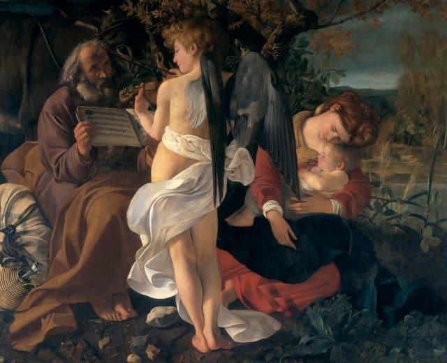 Michelangelo Merisi, detto il Caravaggio, Riposo durante la fuga in Egitto, 1597, olio su tela, Roma, Galleria Doria Pamphilj