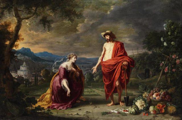 Gesù come giardiniere di fronte a Maria Maddalena in ginocchio - Noli me tangere