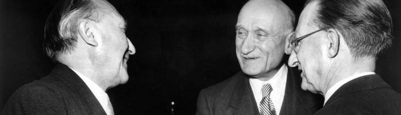 Robert Schuman, Konrad Adenauer, Alcide De Gasperi